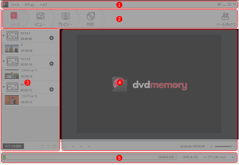 DVD MemoryでDVDディスクを作成する方法 - 画面構成