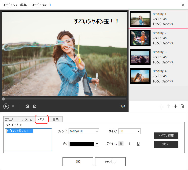 DVD MemoryでDVDディスクを作成する方法 - 写真スライドショーにテキストを入力する
