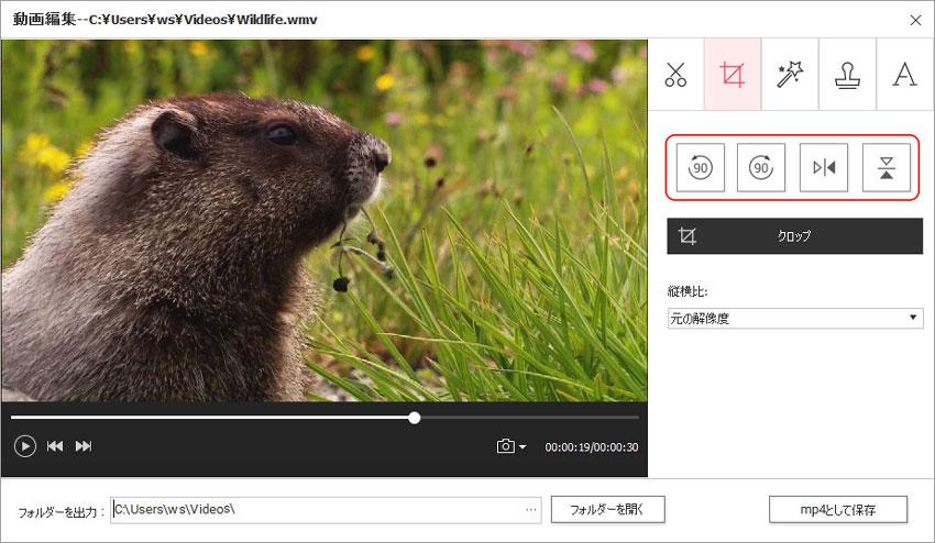 DVD Memory(Windows版)での動画編集-ビデオ回転