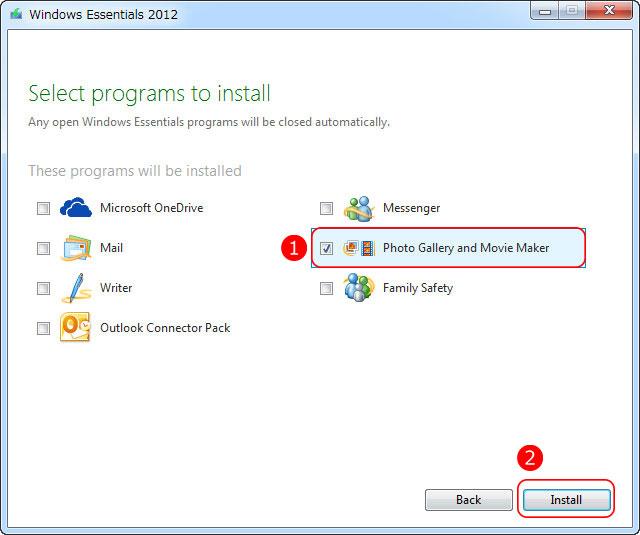 Windows ムービーメーカーをインストール